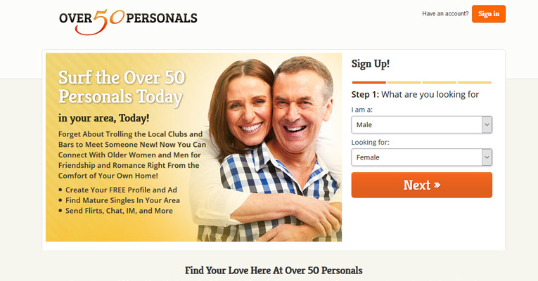 Singles over 50 dating site