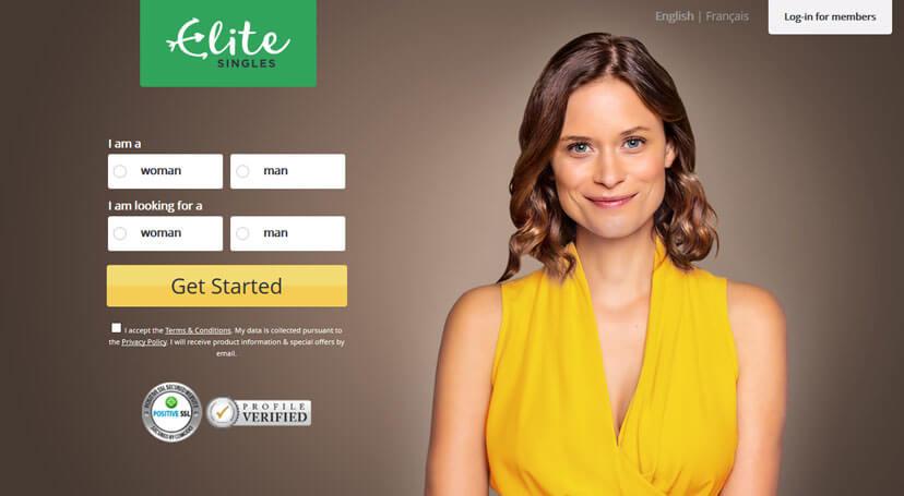 EliteSingles homepage prinitscreen