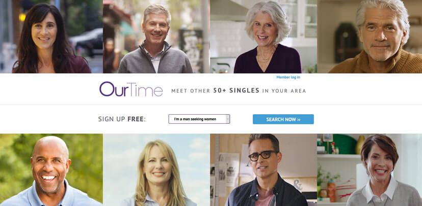 OurTime printscreen homepage