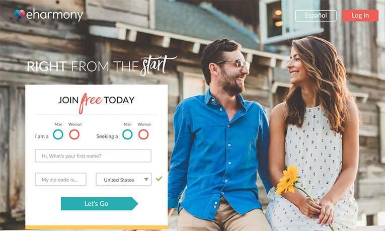eHarmony homepage printscreen